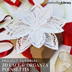 3D Lace and Organza Poinsettia (PR2120) from www.emblibrary.com