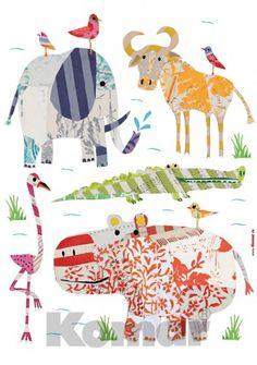 Wandsticker Lustige Tiere aus Afrika auf Safari [36/0]