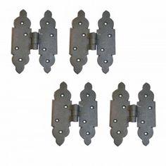 4 H Hinges Black Wrought Iron Rustproof Cabinet