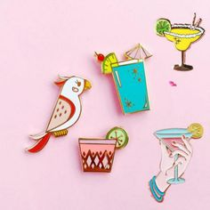 X035 Free shipping Cute Parrot Birds Summer Drink Metal Brooch Pins Button Pins,Fashion Jewelry Wholesale
