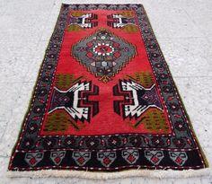Tappeto Yastik Turco in Lana e Cotone - Scendi Letto - Tappeti Turchi 109x57 Cm #Persiano
