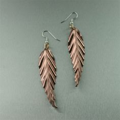 amazing fold formed jewelry / Simply stunning for everyday wear or a night out on the town, these #Fold #Formed Corrugated #Copper Leaf #earrings are sure to be a hit.
