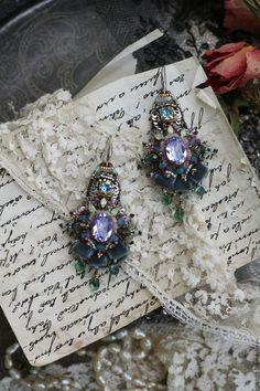 """Купить Серьги """"Эдемский сад"""" - комбинированный, необычное украшение, необычные серьги, серьги вышитые"""