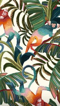 Tropical theme of monkeys and palm trees. The colour palette goes along with this and brings a fun feel to the print! Tropical Animals, Tropical Art, Jungle Illustration, Posca Art, Design Textile, Jungle Pattern, Photo Images, Print Wallpaper, Farm Wallpaper