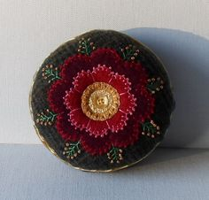 Handmade Pincushion Felted Wool Red & Gold - 2 1/4 H x 4 1/2 W. Felted wool applique with pearl cotton embroidery with an Old World look. I love
