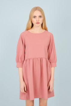 Button-Cuff Angel Dress Pink