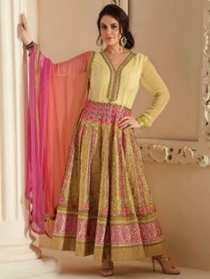 Light Yellow And Golden Georgette Anarkali Suit With Resham And Zari Embroidery Work www.saree.com