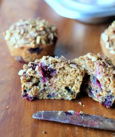 Healthy Blueberry Oat Applesauce Muffins with Struesel