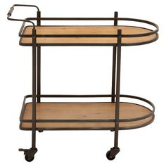 Offer sparkling cocktails to guests or display a vase of vibrant blooms on this fir wood serving cart, showcasing a castered base, an apron silhouette, and a...