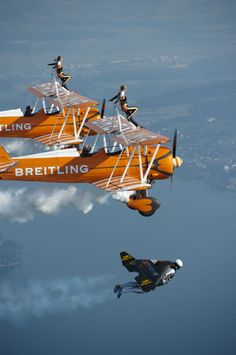 Yves Rossy 'The Jetman' with the Breitling Wingwalkers