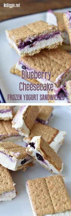 cheesecake ice cream It's the season for ice cream sandwiches, and here's a fun make at home version: Blueberry Cheesecake Frozen Yogurt Sandwiches. We're swapping frozen yogurt fo Ice Cream Desserts, Köstliche Desserts, Frozen Desserts, Ice Cream Recipes, Frozen Treats, Healthy Desserts, Delicious Desserts, Dessert Recipes, Yummy Food