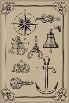 Nautical elements on vintage backgro by sharpner on Creative Market
