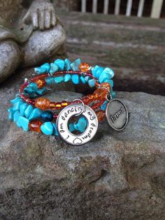 I Am Dancing My Dream: three wrap memory wire beaded bracelet, with metal stamped charm on Etsy, $30.00