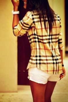 Cute burberry shirt with white short fashion style