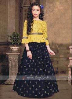 Stylish Golden Yellow And Blue Choli Suit - Stylish Golden Yellow And Blue Choli Suit - Pakistani Kids Dresses, Sleeves Designs For Dresses, Kids Lehenga, Kids Gown, Kids Frocks, Gowns For Girls, Blouse Neck Designs, Clothing Hacks, Golden Yellow