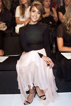 Cropped jumper over floaty dress with strappy heels. New York Fashion Week 2013 Front Row and Parties pictures (Vogue.com UK) - Jessica Alba