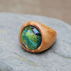 Wood Ring Glass Cab Fused Dichro Wooden Jewelry Green The Secret and the Stone Size 9.  By Venbead on Etsy.
