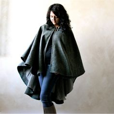 Hooded Cape Green Cape Woodland Cape Outerwear Wool Cape Winter Cloak... ($234) ❤ liked on Polyvore featuring outerwear, grey, ponchos, women's clothing, hooded wool cape, green hooded cloak, wool cape coat, black hooded cape and hooded cloak
