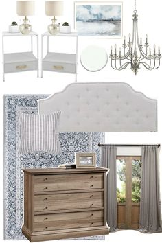 Traditional Glam Bedroom Design Mood Board - Bless'er House Mood Boards of Bedroom Designs for Traditional Gram, Mid-Century Mod, and Boho Cottage Styles for a Small-ish Budget. #moodboards #bedrooms