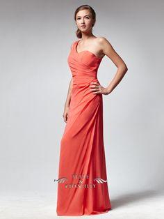 Slim One-Shoulder Bright Coral Bridesmaid Dress