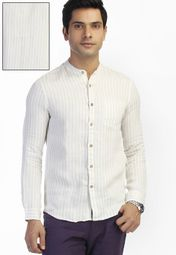 Striped Beige Casual Shirt