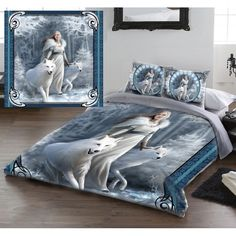 Anne Stokes Winter Guardians Gothic Fairy Double Duvet Set. (Also in King Size / Queen Size). The Fantasy Gothic artwork of Anne Stokes transforms your bedroom into a magical winter wonderland!  The duvet cover and edges of the pillowcases feature a medieval maiden clad in white and furs, guiding her white wolves through the forest. The image is framed with ice crystal symbolism on the borders and in circular frames on the pillowcases. From ANGEL CLOTHING http://www.angelclothing.co.uk