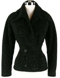 40s Charcoal Wool NIPPED Waist Short Jacket Coat.  How cute would this be with tall boots and leather pants?
