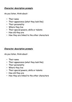 This is a 2 week narrative planning planning i did based on Horrid henry for my la class. I am just a NQT but found this to be effective. <br /> <br /> some things have been adapted, hope this helps x. Character Description, Product Description, Prompts, Teaching Resources, Personality, Names, How To Plan, Learning Resources