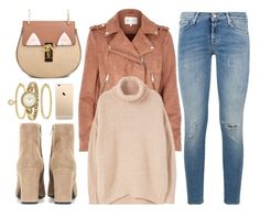 """Stay True"" by monmondefou ❤ liked on Polyvore featuring 7 For All Mankind, River Island, Yves Saint Laurent, Anne Klein, MANGO, brown and beige"