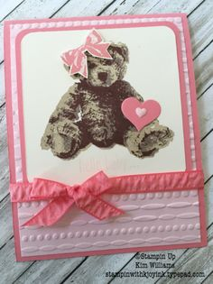 handmade card ... baby girl in pink ... three step stamped teddy ... luv the embossing folder texture with layering on this card ... Stampin' Up!