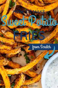 Once you learn How to Make Sweet Potato Fries from Scratch, you will never go back to frozen. They are basically impossible not to love. Crispy on the outside, tender on the inside, these fries will become a habit you feel good about. You can make them in the oven or air fryer. Gluten Free Recipes For Breakfast, Vegan Dinner Recipes, Vegan Dinners, Healthy Dinner Recipes, Vegetarian Recipes, Air Fryer Sweet Potato Fries, Making Sweet Potato Fries, Veggie Side Dishes, Side Dish Recipes