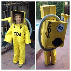 Made a CDA costume (Monsters inc) for my oldest son. My other two sons are Sully and mike.   This was all made from a men's rain suit. I cut excess fabric to wrap the box and head.