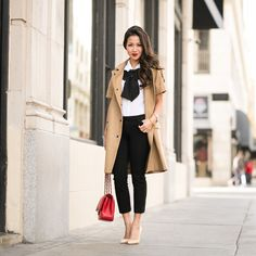 ASOS coat, ASOS top, Gap pants, Gianvito Rossi pumps, ASOS bow, Chanel bag, Brandy Pham bracelets, Stila 'Beso' lip color.