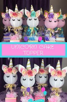 Unicorn Cake Topper is so adorable and a must have for my daughters party. #ad #etsy #unicornparty #unicorns #caketopper #cute
