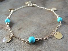 Turquoise And Gold Bracelet Delicate Gold Disc and by annikabella
