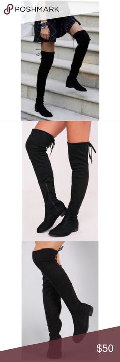 Black over the knee boots Gorgeous boots that channel that boho vibe. Look great with dresses or jeans. Slightly big for 6.5. Worn twice Shoes Over the Knee Boots