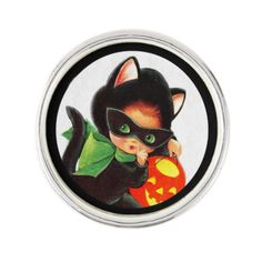 #A Girl in Kitty Costume Pin - #Halloween happy halloween #festival #party #holiday
