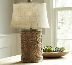 Rowan carved wood table lamp base these carved lamps from pottery rowan carved wood table lamp bases pottery barn aloadofball Choice Image