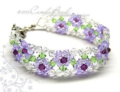 Crystal Bracelet Purple Rose Swarovski Bracelet by by candybead. , via Etsy.