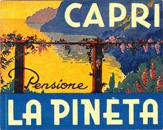 Capri and luggage labels by Alberto Savinio - Italian Ways Luggage Stickers, Luggage Labels, Label Stickers, Italia Vintage, Patagonia Travel, Costa, Vintage Hotels, Vintage Travel Posters, Vintage Luggage