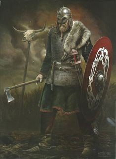 This picture is painted by a great Norwegian artist, Morten Mykle. It is based on the Gjermundbu findings in Norway and how the artist sees the chieftain before he died.