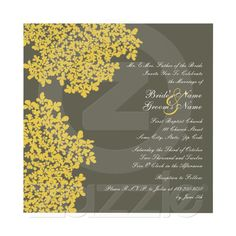 Gray and Yellow Floral Square Wedding Invites from Zazzle.com