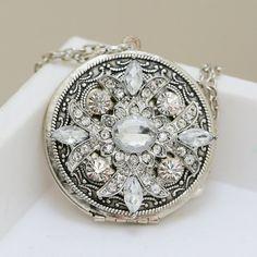 Locket, Silver Locket, Locket,Rhinestone Locket,filigree locket necklace,photo locket,vintage locket,Wedding Necklace,bridesmaid necklace, $49.99