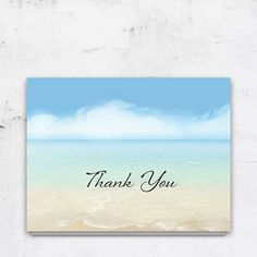 Send a special card to friends, family, and other attendees after the funeral or memorial service. This 5.5 x 4.25 folded beach themed thank you notecard reflects elements of the beach for a sweet memorial to your loved one. Cards are printed on our gorgeous #120 card stock with white or linen colored cotton envelopes
