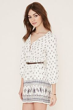 Beige FOREVER21  casual dress  for woman faux leather,studded belt,dress,paisley,abstract print #vestidoinformal #camisole #túnica #shift #pleat #pleated #drape #t-shape #daisy #foldedshoulder #summer #loosefit #tunictop #swing #day #offtheshoulder #smock #print #printed #tea #babydolldress #polodress #pansybow #sundress #offshoulder