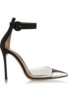 Gianvito Rossi Leather, PVC and suede pumps   NET-A-PORTER