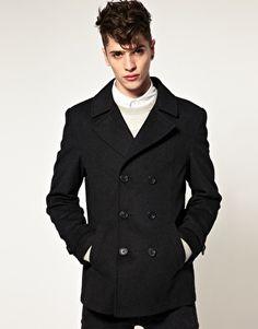 ASOS Wool Pea Coat In Houndstooth