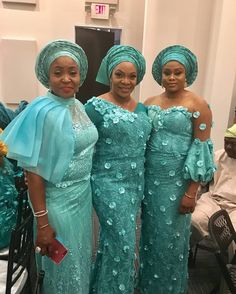 Sisters in Beautiful Aso-Ebi Style Look - isishweshwe African Dresses For Kids, African Print Dresses, African Print Fashion, African Fashion Dresses, African Outfits, African Attire, African Wear, African Women, Lace Material Styles