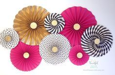 Hot Pink Black and Gold Glitter || Black and White Stripe Rosette Backdrop || Kate Spade Inspired Paper Fans || Kate Spade Bridal Shower by BeautifulPaperCrafts on Etsy https://www.etsy.com/listing/230995619/hot-pink-black-and-gold-glitter-black