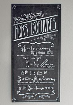 I just had to share this amazing chalk menu created by my beautiful friend and shooter Laura. I LOVE the look of these, and like this one, they can be created on black paper and sent anywhere i. Wedding Hors D'oeuvres, Wedding Appetizers, Chalk Menu, Menu Chalkboard, Party Mixer, Bacon Wrapped Dates, Bar Menu, Wedding Signs, Wedding Stuff